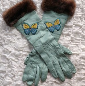 RARE Vintage Coach Butterfly Leather & Mink Gloves